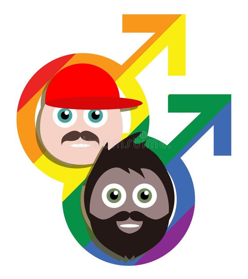 Ομοφυλοφιλικοί τύποι κινούμενων σχεδίων στοκ εικόνα