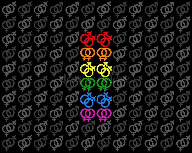 Ομοφυλοφιλικό λεσβιακό υπόβαθρο συμβόλων σημαιών υπερηφάνειας διανυσματική απεικόνιση