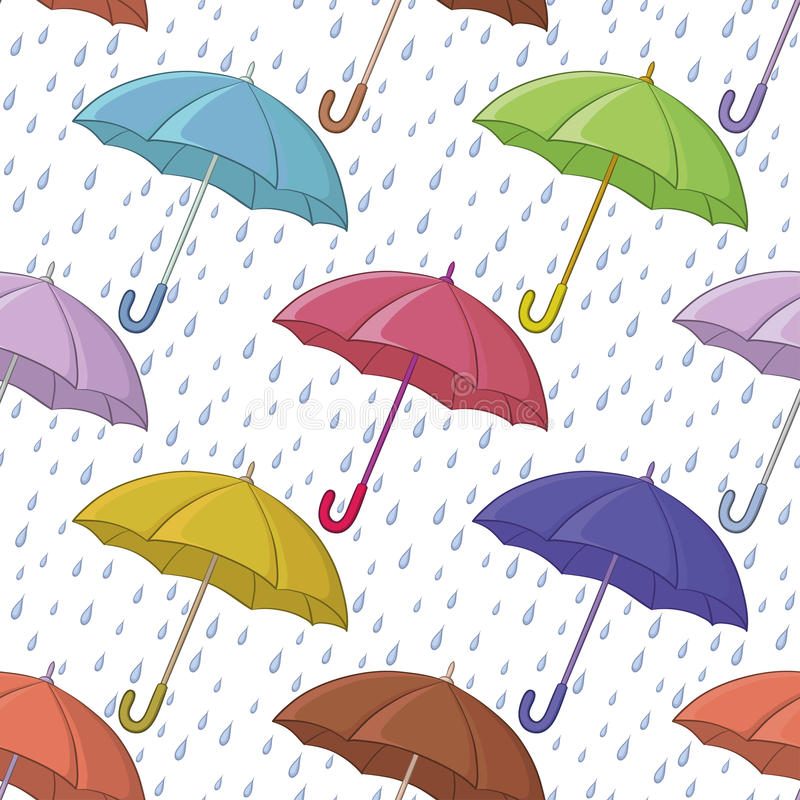 Ομπρέλα και βροχή, άνευ ραφής ανασκόπηση διανυσματική απεικόνιση