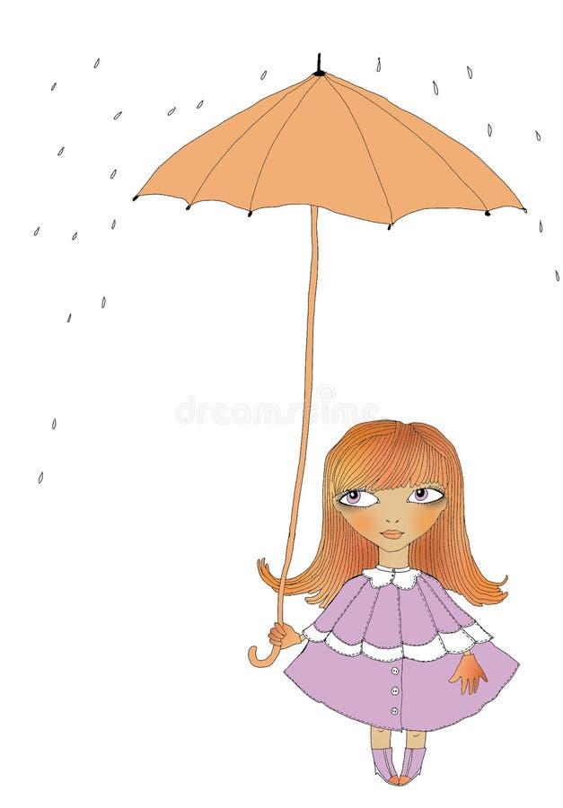 ομπρέλα κοριτσιών κάτω στοκ φωτογραφία με δικαίωμα ελεύθερης χρήσης
