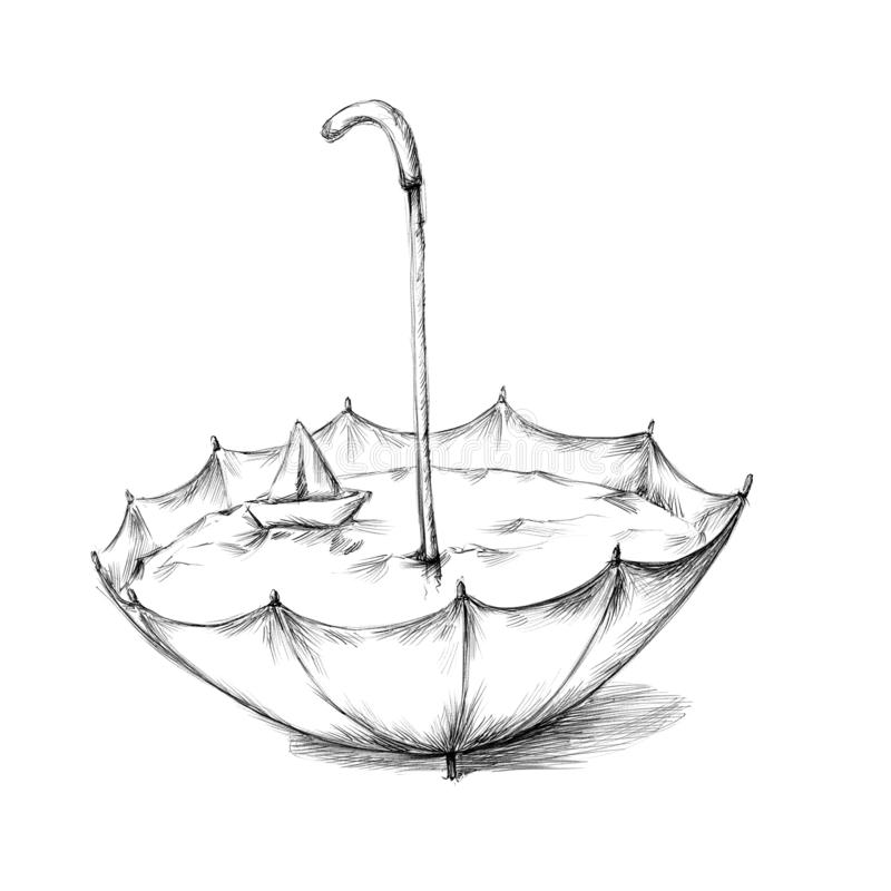 Ομπρέλα με τη βάρκα νερού και εγγράφου διανυσματική απεικόνιση