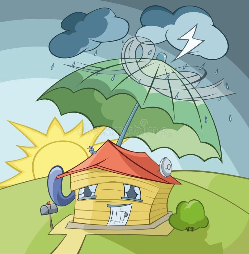Download ομπρέλα σπιτιών κάτω διανυσματική απεικόνιση. εικονογραφία από shielding - 17051357