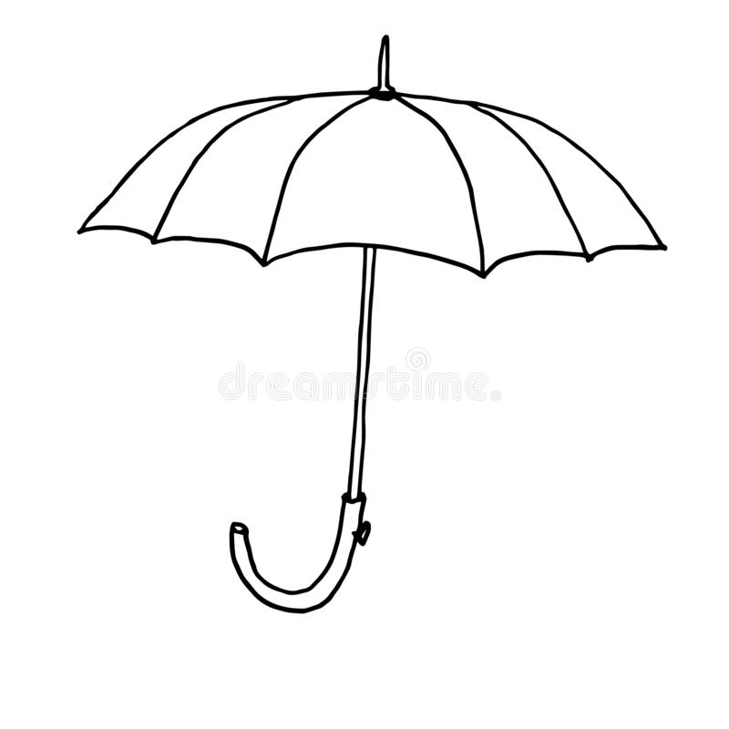 Ομπρέλα φθινοπώρου Μονοχρωματικό σκίτσο, σχέδιο χεριών Μαύρη περίληψη στο άσπρο υπόβαθρο r ελεύθερη απεικόνιση δικαιώματος