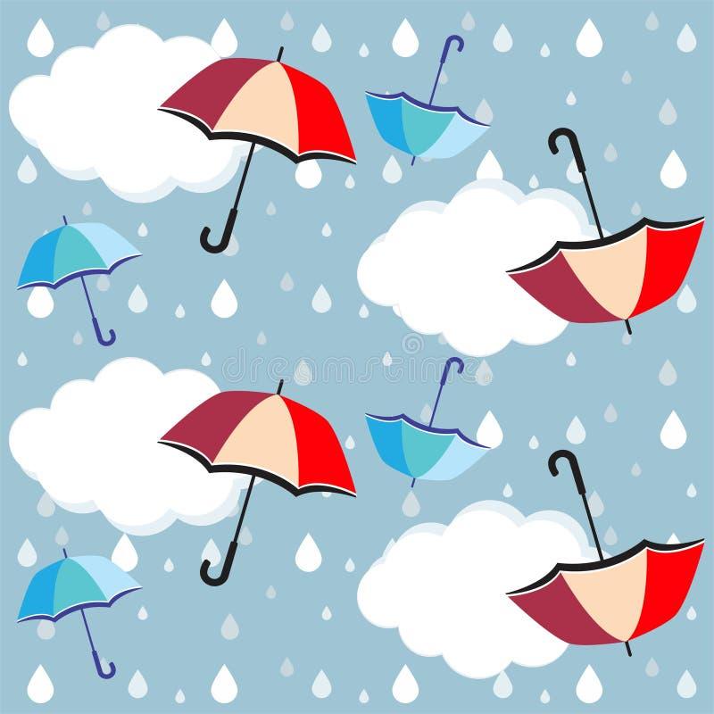 Ομπρέλες, πτώσεις βροχής σύννεφων - διάνυσμα, eps ελεύθερη απεικόνιση δικαιώματος