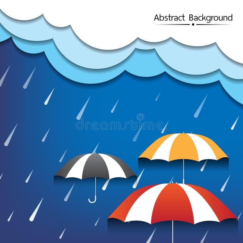 Ομπρέλα και βροχή με το πυκνό αφηρημένο υπόβαθρο σύννεφων διανυσματική απεικόνιση
