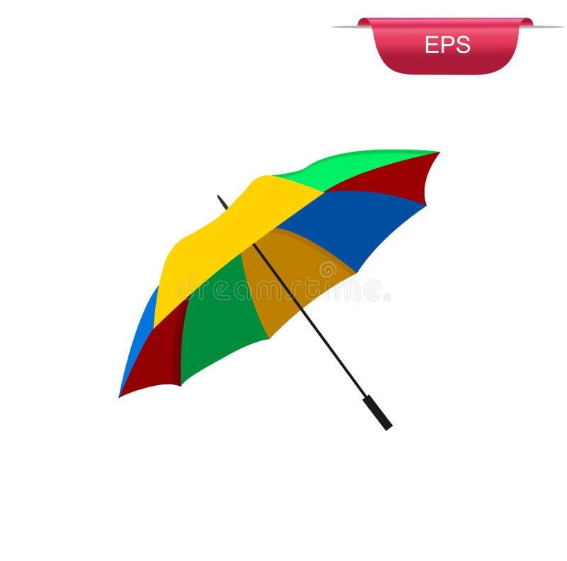 Ομπρέλα παραλιών, επίπεδο στοιχείο σχεδίου, διανυσματική απεικόνιση ελεύθερη απεικόνιση δικαιώματος