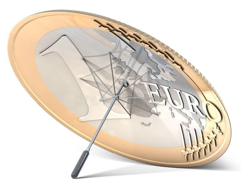Ομπρέλα φιαγμένη από ευρο- νόμισμα απεικόνιση αποθεμάτων