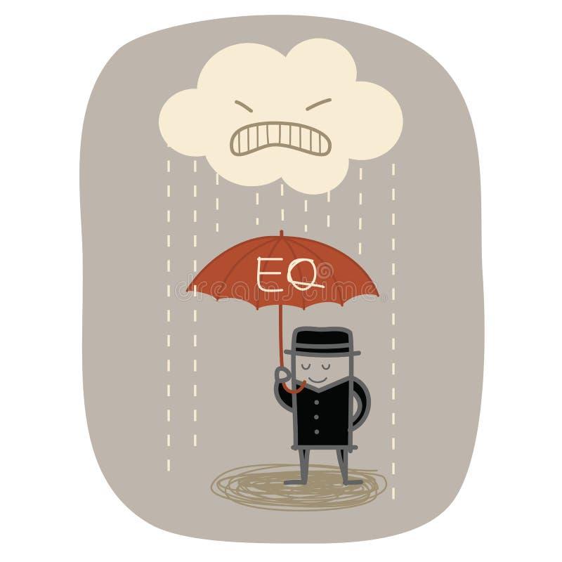 Ομπρέλα χρήσης EQ επιχειρηματιών διανυσματική απεικόνιση
