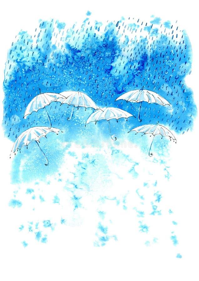 Ομπρέλες και σταγόνες βροχής στο υπόβαθρο του μπλε λεκέ διανυσματική απεικόνιση