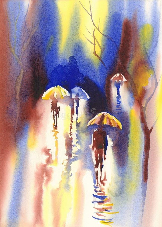 Ομπρέλες χρώματος στο watercolor βροχής απεικόνιση αποθεμάτων