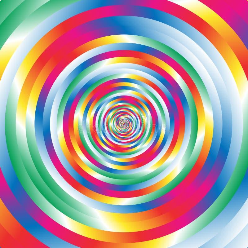 Ομόκεντροι ζωηρόχρωμοι σπειροειδείς τυχαίοι κύκλοι W Αφηρημένο κυκλικό π ελεύθερη απεικόνιση δικαιώματος