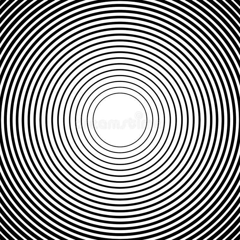 Ομόκεντροι κύκλοι, ακτινωτά σχέδια γραμμών Μονοχρωματική περίληψη διανυσματική απεικόνιση