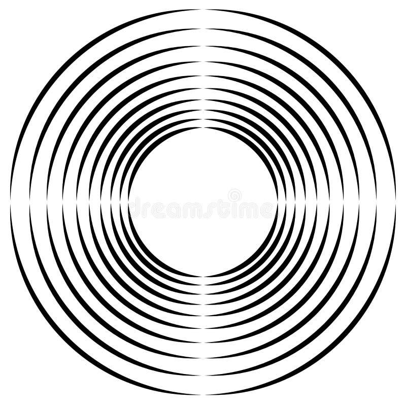Ομόκεντρο, ακτινωτό κυκλικό στοιχείο κύκλων Αφηρημένος μαύρος και ελεύθερη απεικόνιση δικαιώματος