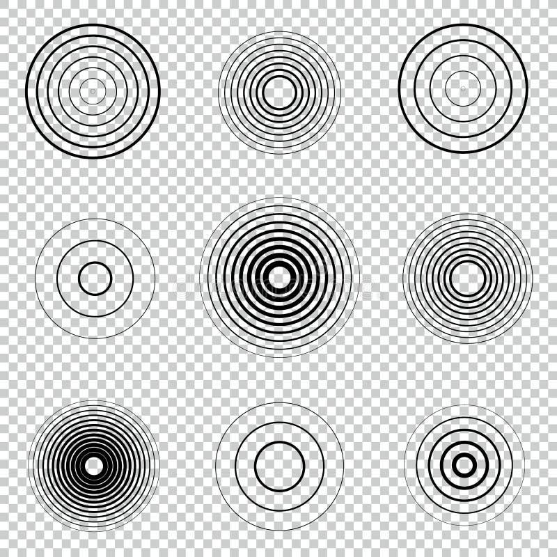 Ομόκεντρο σύνολο στοιχείων κύκλων οθονών ραντάρ Υγιές κύμα Στόχος περιστροφής κύκλων διανυσματική απεικόνιση