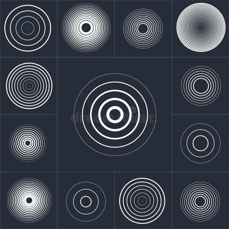 Ομόκεντρο σύνολο στοιχείων κύκλων οθονών ραντάρ Υγιές κύμα Στόχος περιστροφής κύκλων Σήμα ραδιοσταθμών ελεύθερη απεικόνιση δικαιώματος