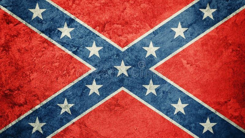 Ομόσπονδη σημαία Grunge Σημαία συνομοσπονδίας με τη σύσταση grunge στοκ εικόνα