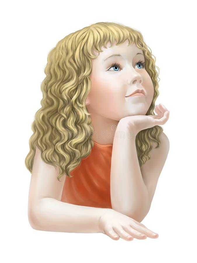 ονειρεμένος κορίτσι διανυσματική απεικόνιση