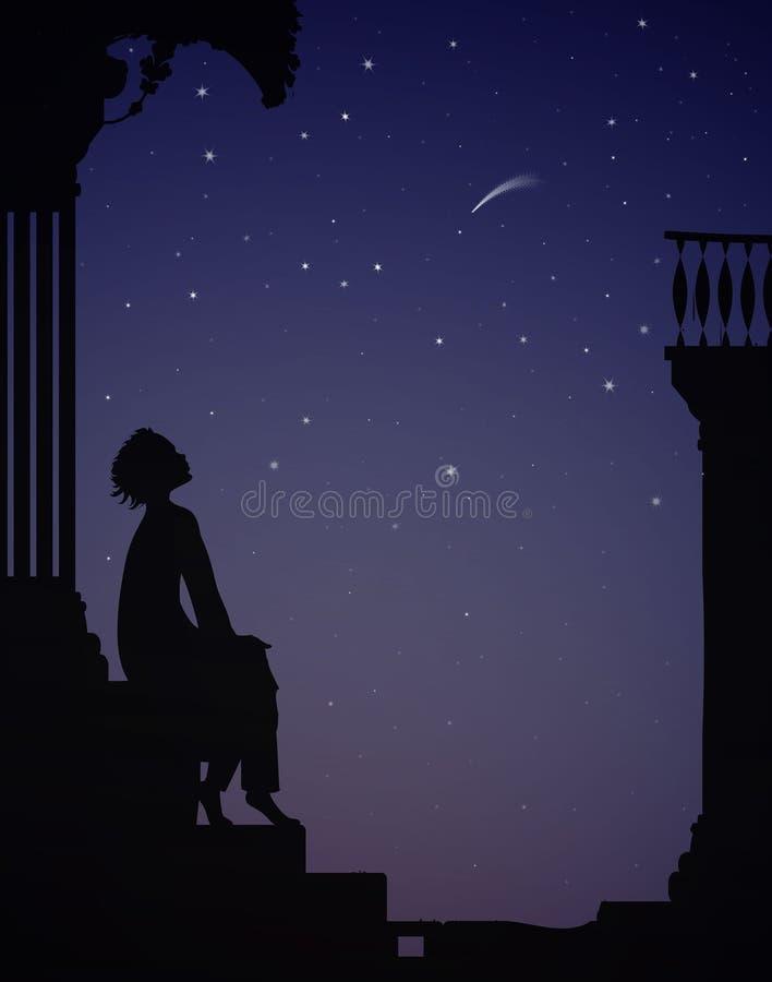 Ονειροπόλος, αγόρι κάθεται κοντά στα σπίτια της πόλης και κοιτάζει τα αστέρια, τα όνειρα διανυσματική απεικόνιση