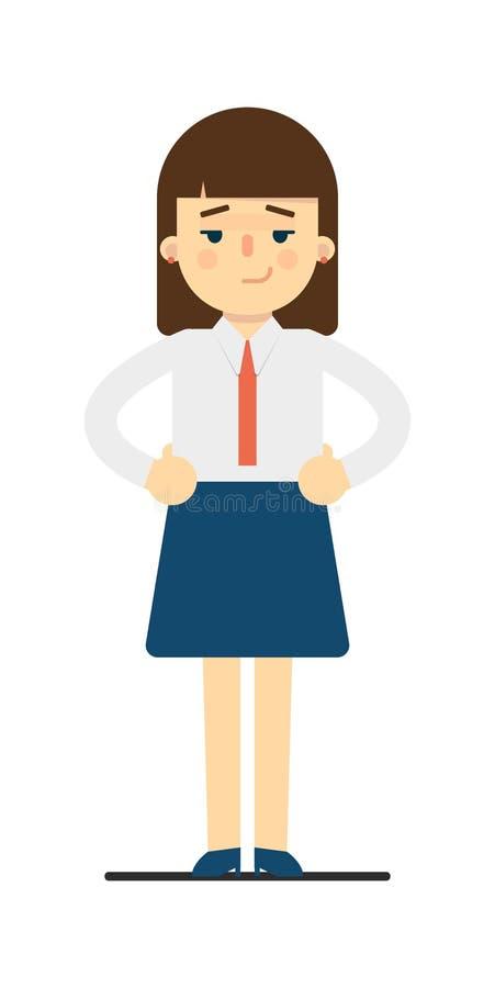 Ονειροπόλος νέα γυναίκα με τα χέρια στη χειρονομία μέσης απεικόνιση αποθεμάτων