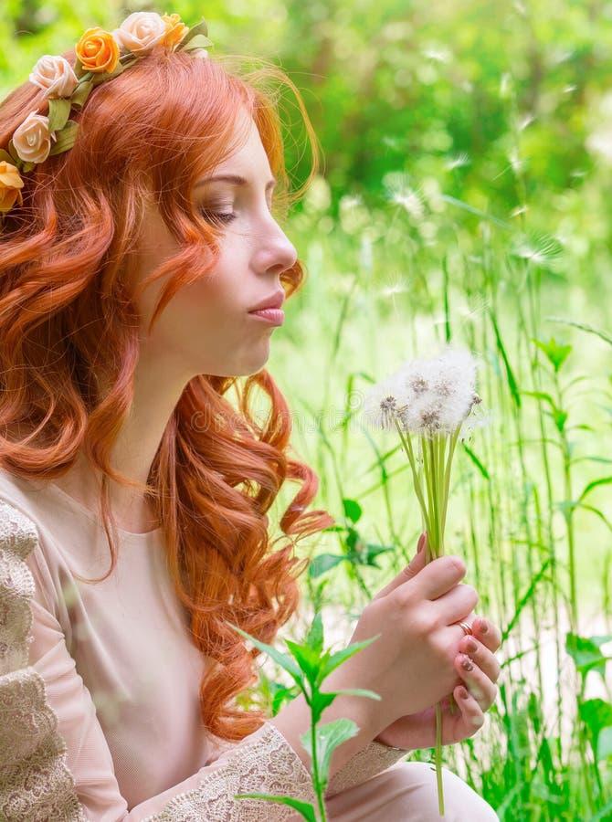 Ονειροπόλος γυναίκα με τις πικραλίδες στοκ εικόνα με δικαίωμα ελεύθερης χρήσης
