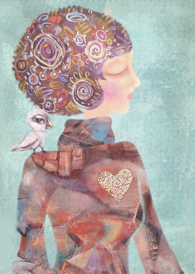 Ονειροπόλο νέο κορίτσι με ένα πουλί στον ώμο του Έννοια ηρεμίας απεικόνιση αποθεμάτων
