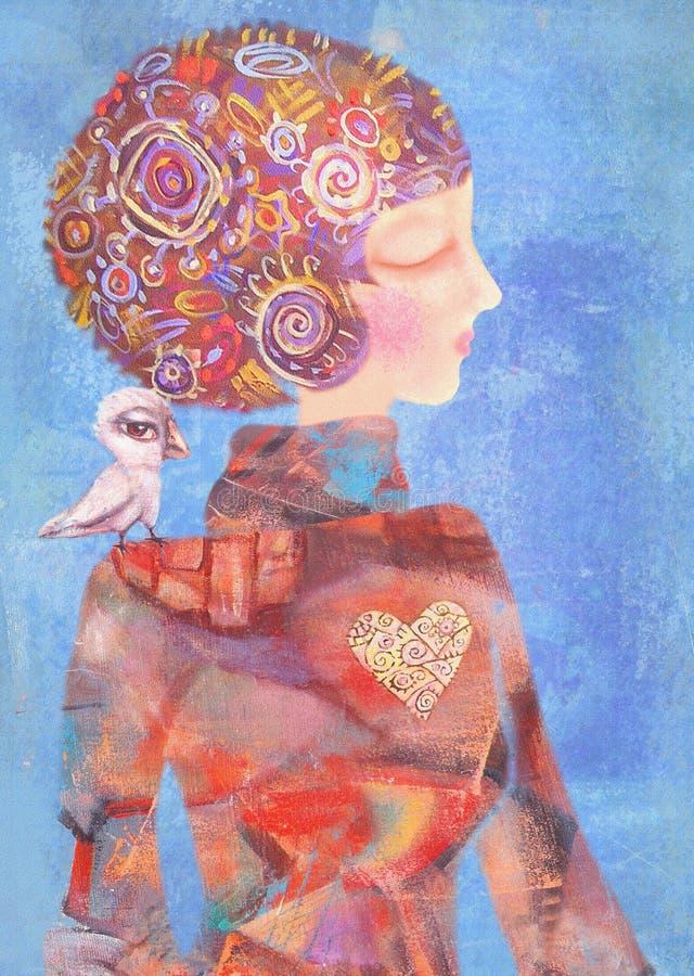 Ονειροπόλο νέο κορίτσι με ένα πουλί στον ώμο του Έννοια ηρεμίας διανυσματική απεικόνιση
