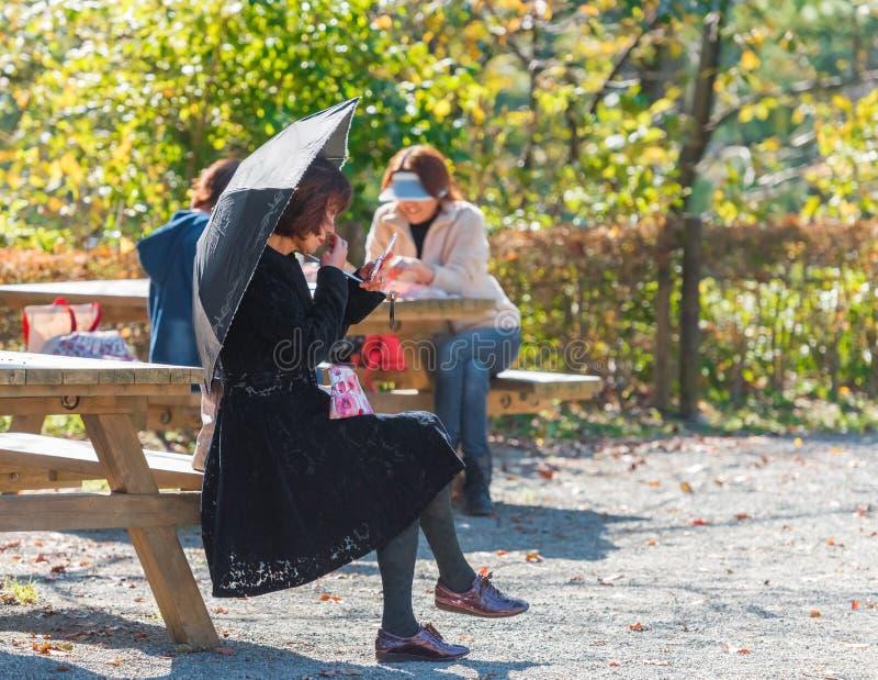 ΟΝΤΑΓΟΥΆΡΑ, ΙΑΠΩΝΙΑΣ - 11 ΝΟΕΜΒΡΙΟΥ, 2017: Γυναίκα στο πάρκο σε έναν πάγκο κάτω από μια ομπρέλα Διάστημα αντιγράφων για το κείμεν στοκ εικόνες