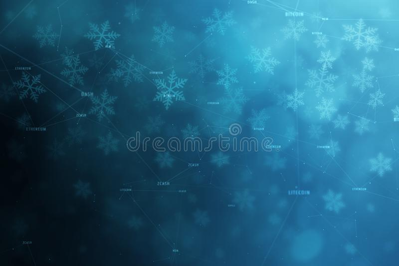Ονόματα λέξης Cryptocurrency με snowflakes το υπόβαθρο απεικόνιση αποθεμάτων
