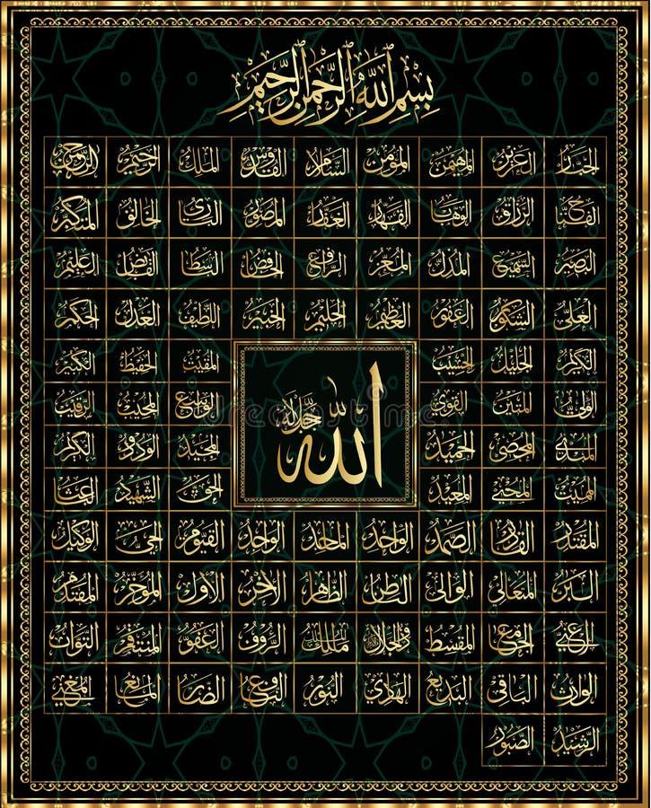 99 ονόματα του Αλλάχ ελεύθερη απεικόνιση δικαιώματος