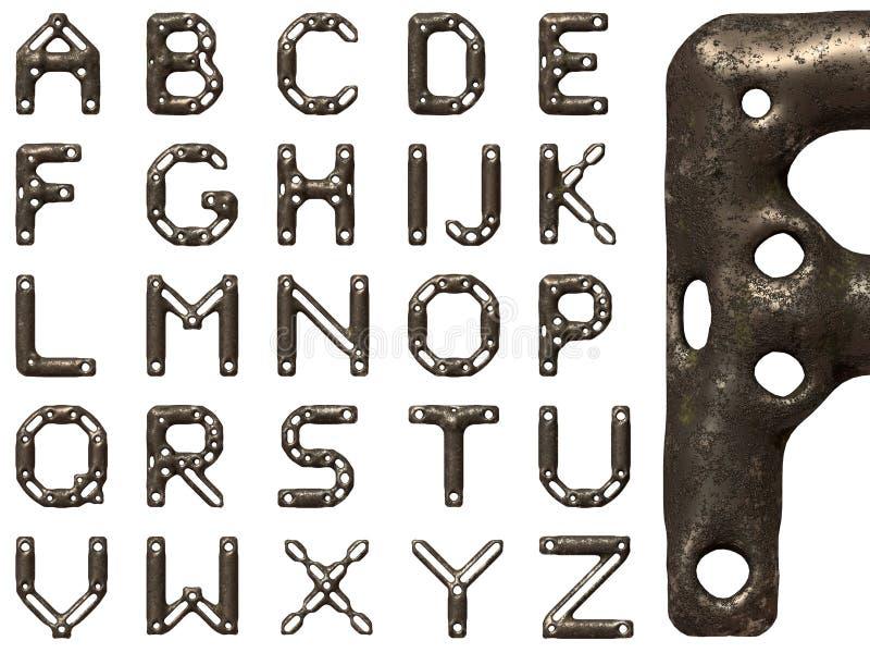 Οξυδωμένο αλφάβητο χάλυβα διανυσματική απεικόνιση