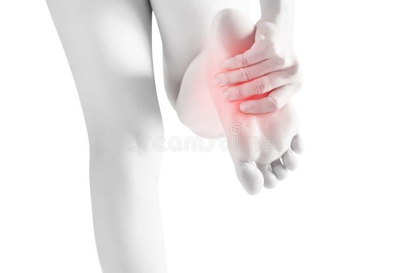 Οξύς πόνος στα πόδια γυναικών που απομονώνονται στο άσπρο υπόβαθρο Ψαλίδισμα της πορείας στο άσπρο υπόβαθρο στοκ εικόνα