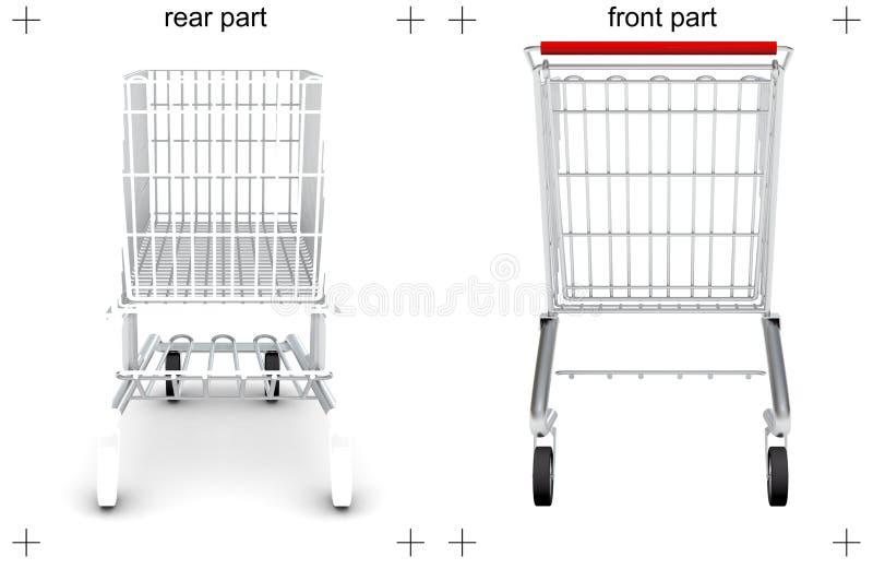 Οπίσθια και μπροστινά μέρη του κάρρου αγορών στο λευκό απεικόνιση αποθεμάτων