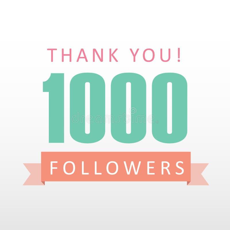 1000 οπαδοί ευχαριστούν εσείς αριθμούν με την κοινωνική ευγνωμοσύνη μέσων εμβλημάτων διανυσματική απεικόνιση