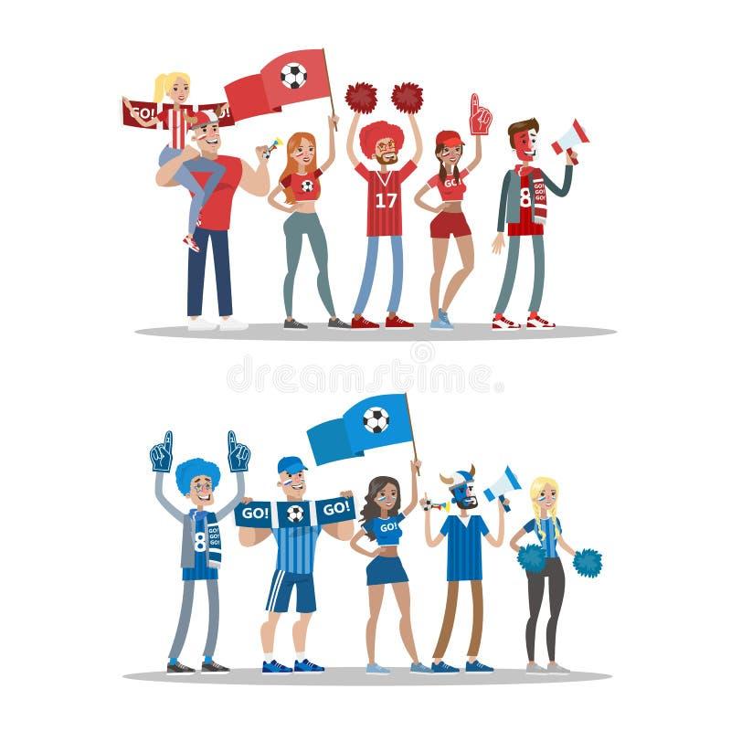 Οπαδοί ποδοσφαίρου καθορισμένοι διανυσματική απεικόνιση