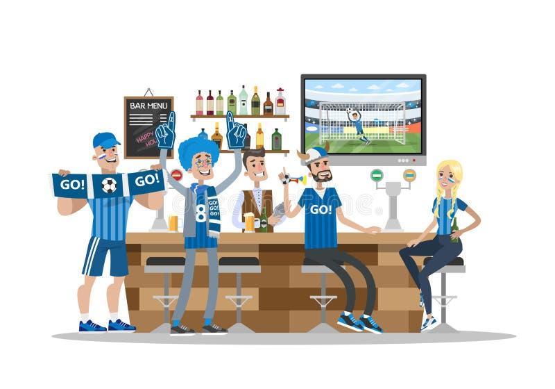 Οπαδοί ποδοσφαίρου στο φραγμό διανυσματική απεικόνιση
