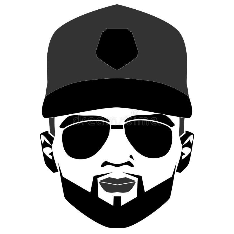 Οπαδός ποδοσφαίρου ΚΑΠ Ενιαίο εικονίδιο στο μαύρο διανυσματικό σύμβολο ύφους Κομψό γενειοφόρο πρόσωπο ατόμων στα γυαλιά ηλίου Δια διανυσματική απεικόνιση