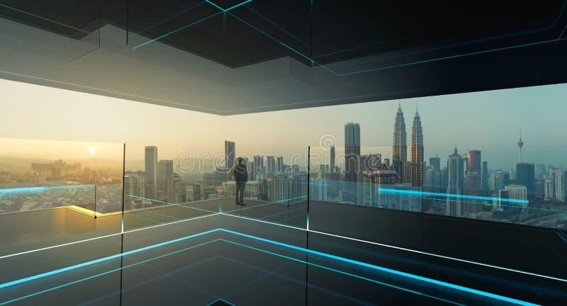 Οπισθοσκόπος ενός επιχειρηματία που φαίνεται συνολικά κέντρο πόλεων στοκ εικόνες