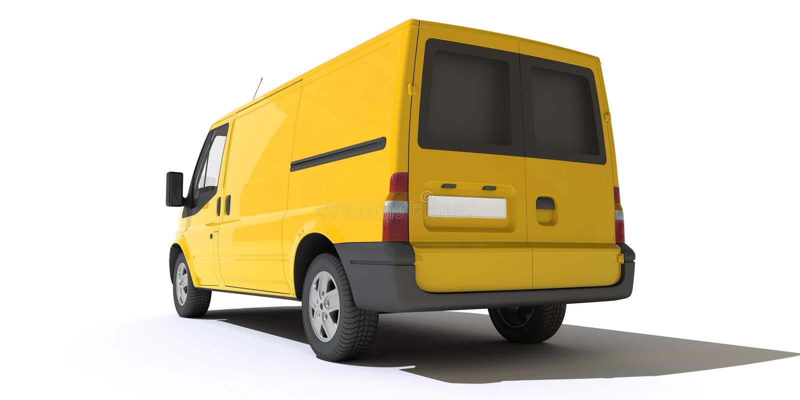 Οπισθοσκόπος του κίτρινου φορτηγού ελεύθερη απεικόνιση δικαιώματος