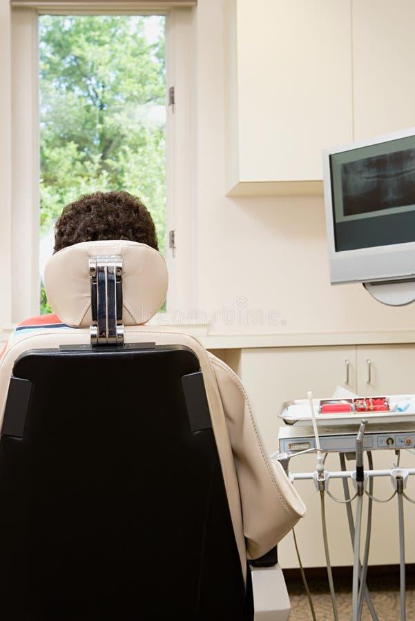 Οπισθοσκόπος του προσώπου στην καρέκλα οδοντιάτρων στοκ εικόνες με δικαίωμα ελεύθερης χρήσης