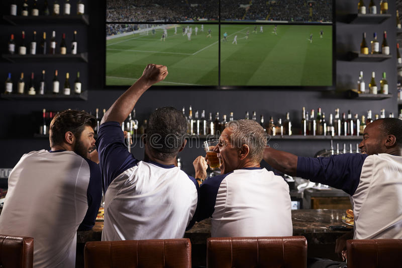Οπισθοσκόπος των αρσενικών φίλων που προσέχουν το παιχνίδι στον αθλητικό φραγμό στοκ εικόνες