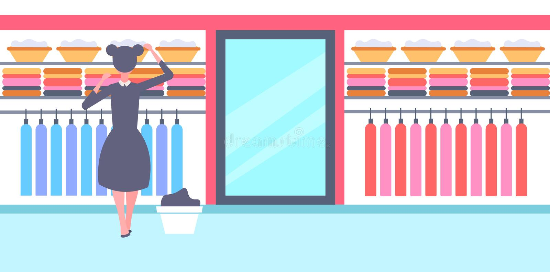 Οπισθοσκόπο κορίτσι στη γραπτή ομοιόμορφη οργανώνοντας καθαρή νοικοκυρά ενδυμάτων στο αποτελεσματικό σπίτι ντουλαπών οικογενειακο διανυσματική απεικόνιση
