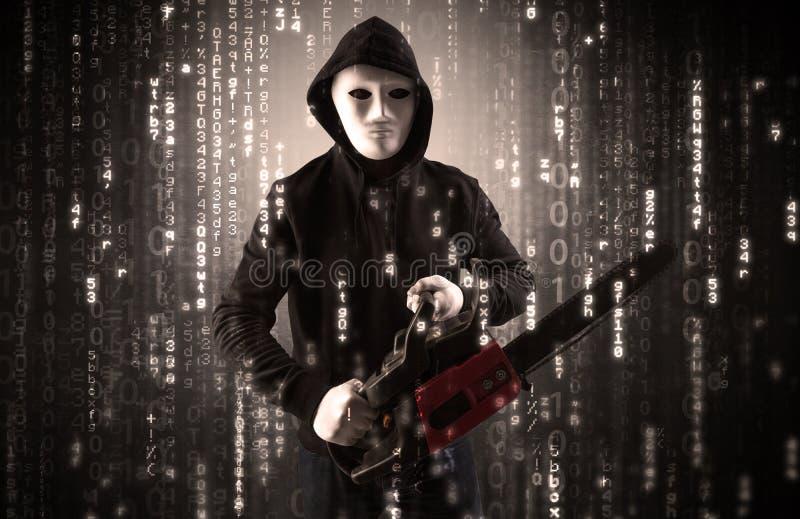 Οπλισμένος χάκερ στην έννοια σύννεφων ασφάλειας cyber στοκ εικόνες με δικαίωμα ελεύθερης χρήσης