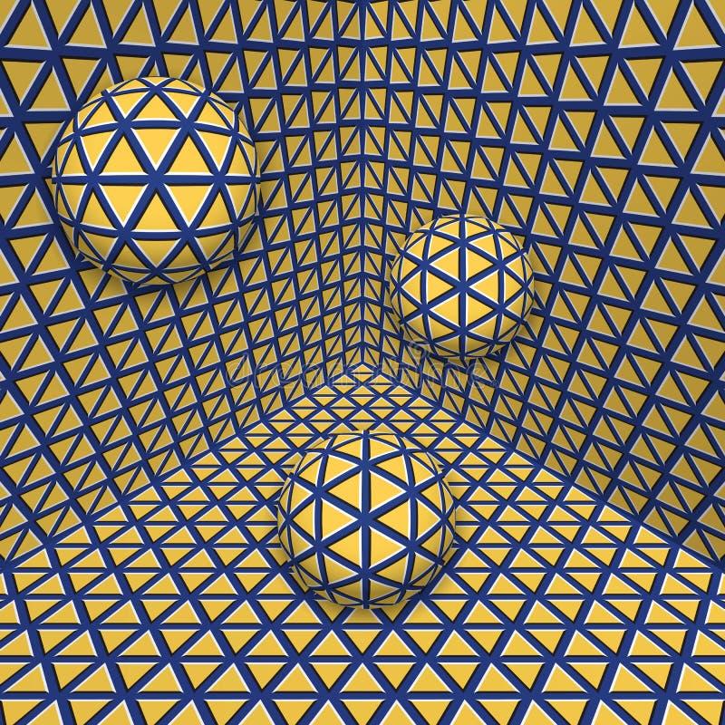 Οπτική απεικόνιση παραίσθησης Τρεις σφαίρες προχωρούν στην κίτρινη μπλε επεκτειμένος γωνία απεικόνιση αποθεμάτων