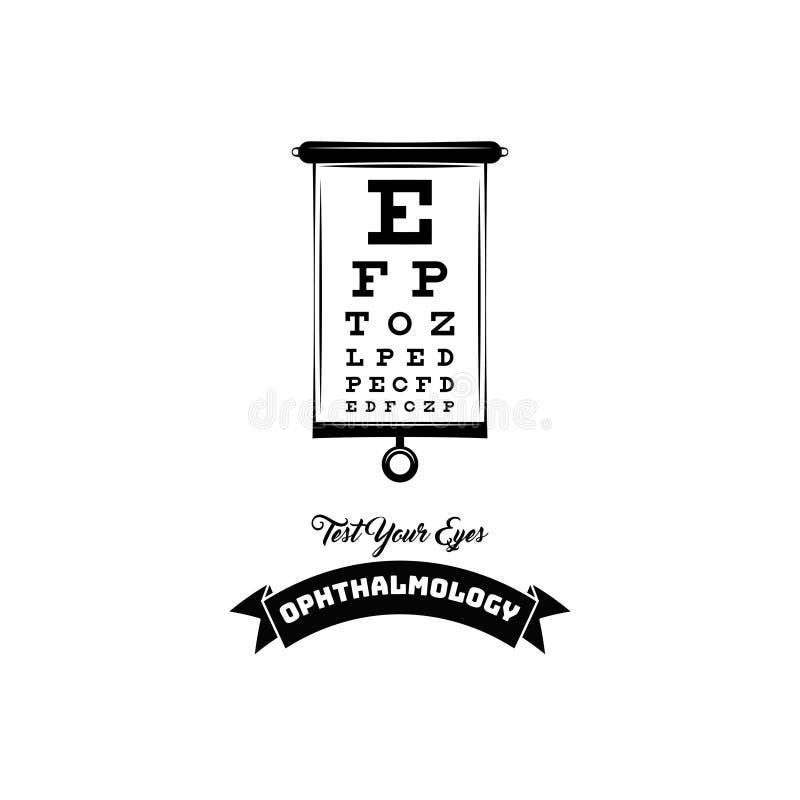 Οπτική ετικέτα εμβλημάτων διακριτικών οφθαλμολογίας δοκιμής οράματος Λογότυπο οφθαλμολόγων Πίνακας δοκιμής με τις επιστολές για τ διανυσματική απεικόνιση