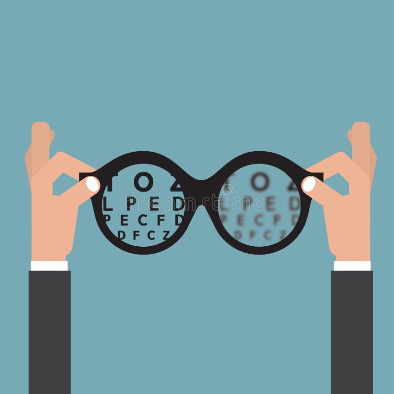Οπτικός γυαλιών χεριών λαβής, όραμα της έννοιας προσοχής ματιών όρασης απεικόνιση αποθεμάτων