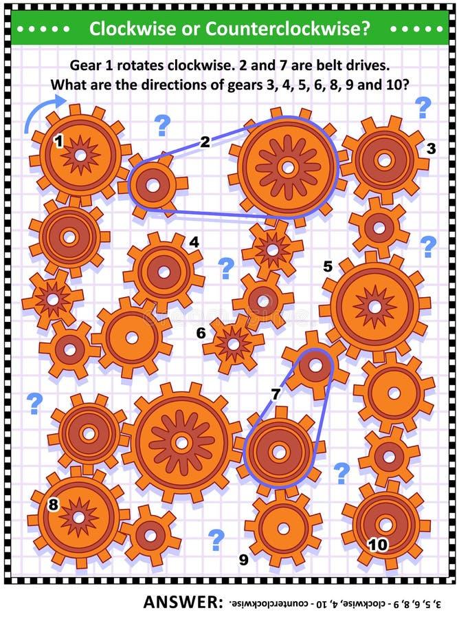 Οπτικός μηχανικοί ή math γρίφος με τα περιστρεφόμενες εργαλεία και τις κινήσεις ζωνών ελεύθερη απεικόνιση δικαιώματος