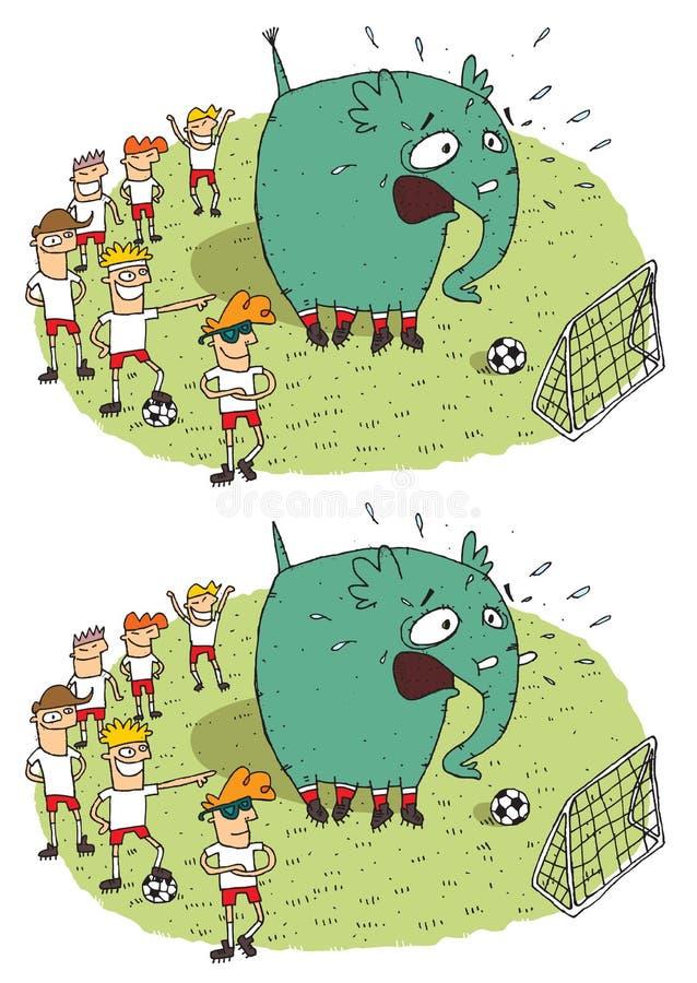 Οπτικό παιχνίδι διαφορών ελεφάντων ποδοσφαίρου διανυσματική απεικόνιση