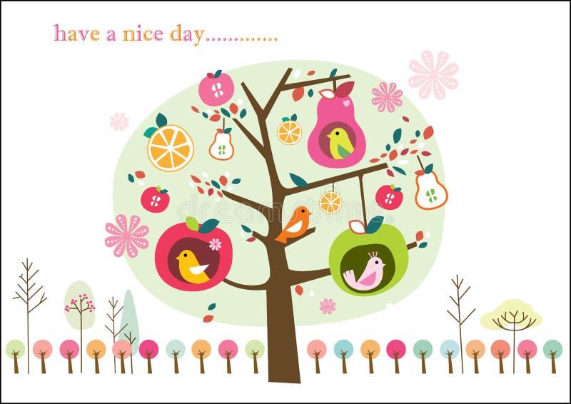οπωρωφόρο δέντρο ιδιότροπ&o διανυσματική απεικόνιση