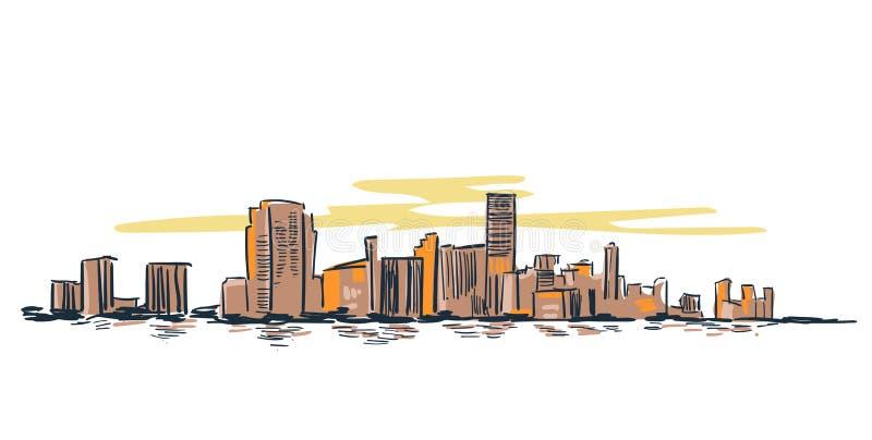 Ορίζοντας απεικόνισης γραμμών τοπίων αμερικανικών διανυσματικός σκίτσων πόλεων του Μαϊάμι ελεύθερη απεικόνιση δικαιώματος