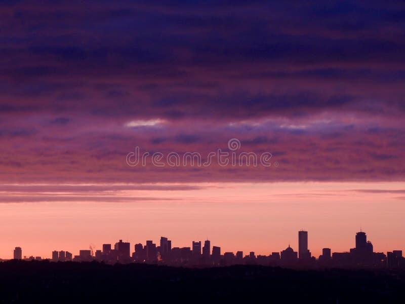 Ορίζοντας αυγής της Βοστώνης στοκ φωτογραφίες με δικαίωμα ελεύθερης χρήσης